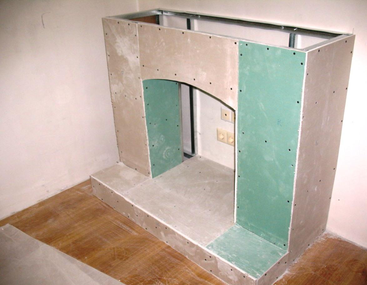 Каминный портал из гипсокартона своими руками фото
